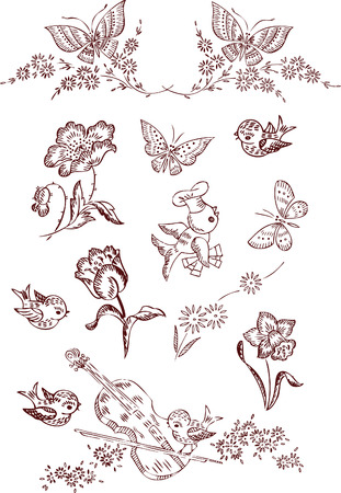 flower butterfly elements Vector