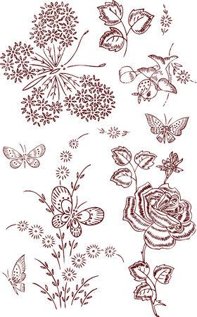 swallow: bloem vlinder elementen