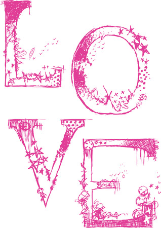 texture cute Love typography logo poster Stock Vector - 4514188