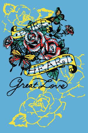 tatouage papillon: Rose et papillon tatouage Illustration