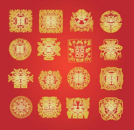 oriental double happiness Vector