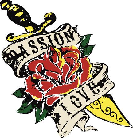 rock logo: Cosecha de flores tatuaje Vectores