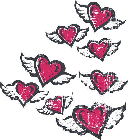 manos logo: ilustraci�n coraz�n de vuelo