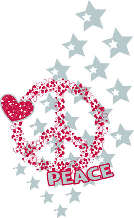 love and peace illustration Vector