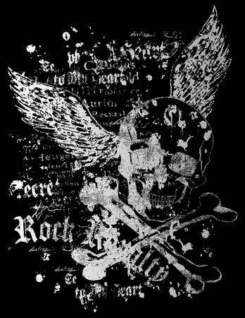 grunge wings: battenti cranio con stile rock Vettoriali