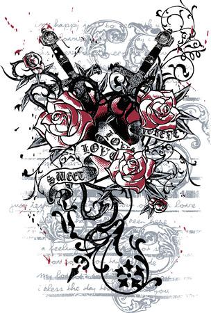 tatouage: c?ur avec des armes de tatouage Illustration