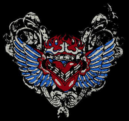 fire heart with wing Vector