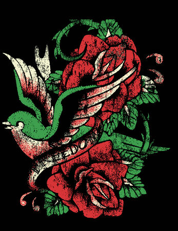 banner of peace: bird sailor tattoo with rose Illustration