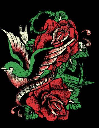 distressed: bird sailor tattoo with rose Illustration
