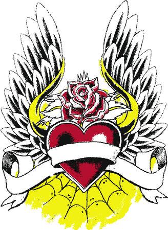 rock logo: coraz�n con alas tatuaje Vectores
