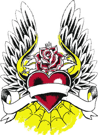 crown tattoo: heart with wing tattoo