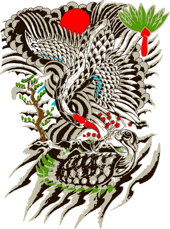 ancient turtles: Oriental bird and tree painting