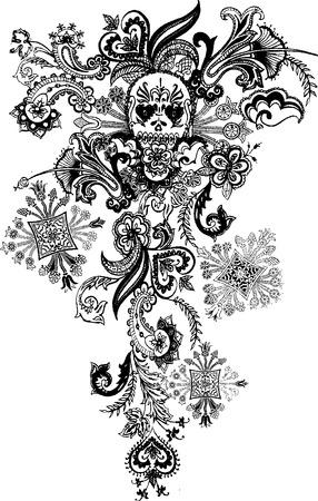 skull tattoo: paisley schedel tatoeage Stock Illustratie