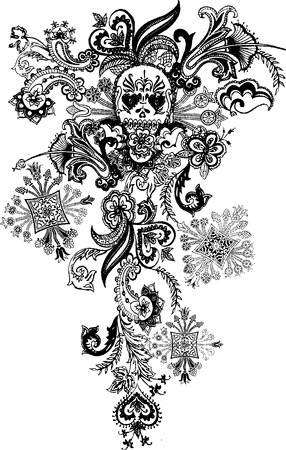 paisley skull tattoo Vector