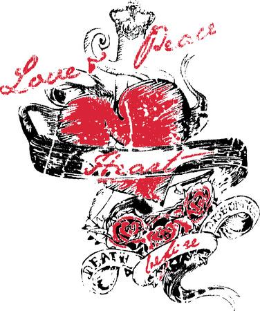logo rock: coeur avec aile tattoo Illustration