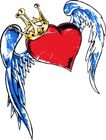 heart and crown: con cuore ala tatuaggio