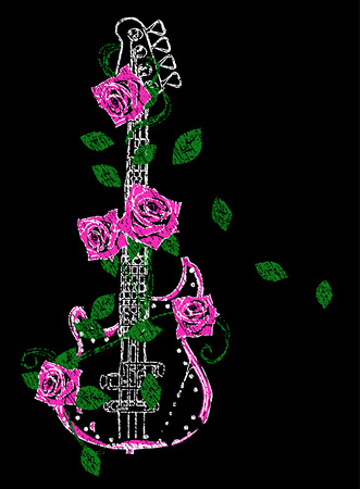 raw material: Rock guitar with rose illustration