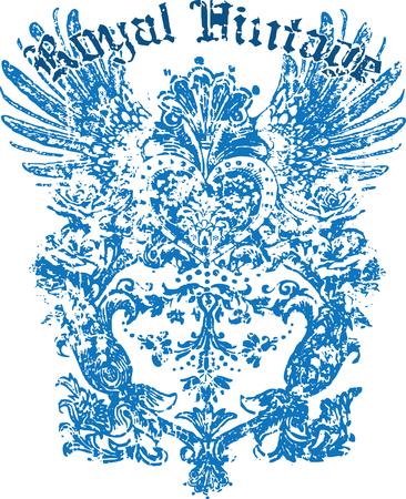 rock logo: Dise�o de ala her�ldica de la etiqueta de su