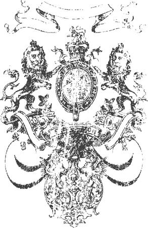 Cross heraldic crest lion Vector