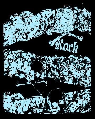 Skull rock grunge texture Vector