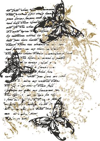 Flower butterfly writing illustration Vector