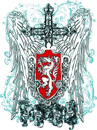 cross heraldic crest eagle Vector