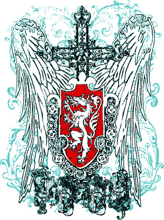 bird  celtic: cross heraldic crest eagle Illustration