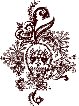 Skull paisley rock tattoo Vector
