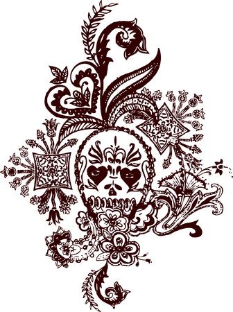Skull paisley rock tattoo Stock Vector - 4835647