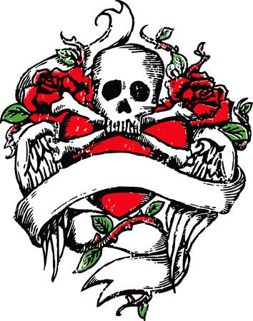 Teschio rock tatuaggio emblema Archivio Fotografico - 4835646