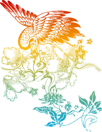 Oriental bird flower Vector