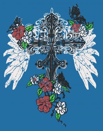 heart and crown: Heraldic wing cross