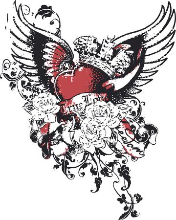 engel tattoo: Herz-Krone sin Religion Illustration