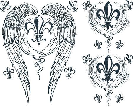 Heraldic wing royalty Vector
