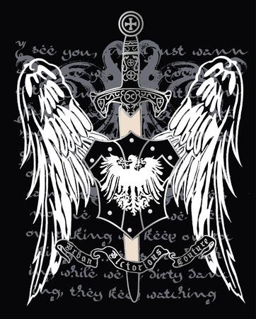 Cross heraldic crest eagle Illustration