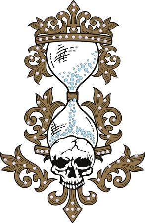 sand clock: Skull rock grunge texture