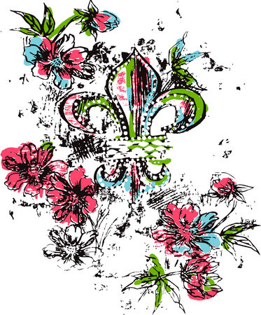strong arm: Royalty logo flower Illustration