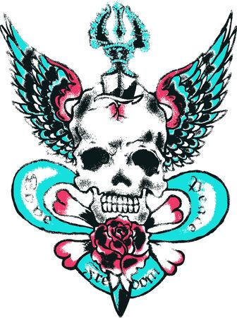 Skull wing rock tattoo Vector