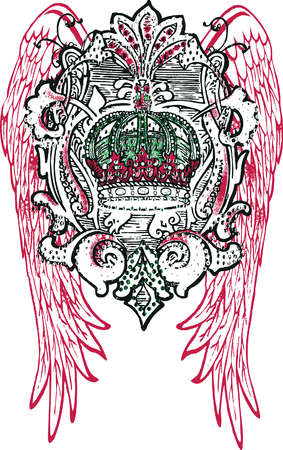 royalty: crown and wing tattoo Illustration