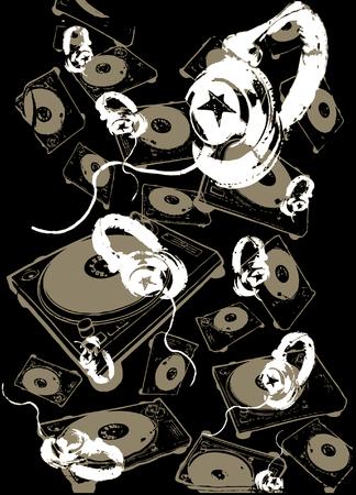Music headphone background Stock Vector - 4862528