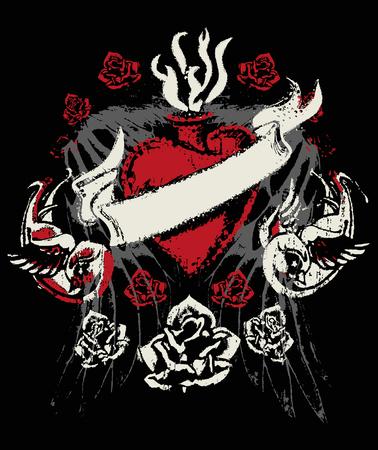 tragos: rosa, coraz�n y emblema de aves Vectores
