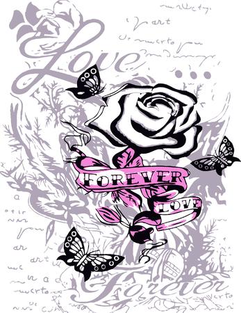 Faith rose butterfly Vector