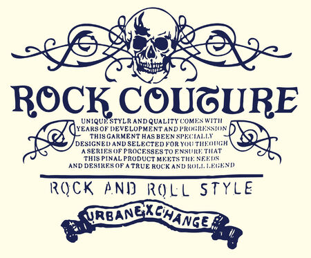 rock   roll: Heraldic skull emblem Illustration