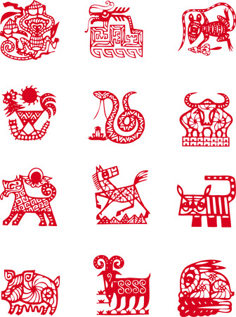 chinese zodiac: Chinese ancient zodiac animal year symbol Illustration