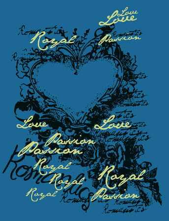 love heart emblem design Vector