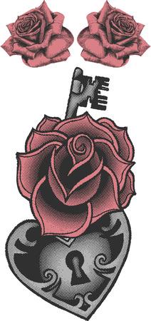 Vintage flower tattoo Vector