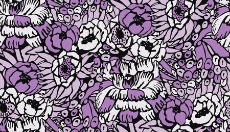 botany woman: seamless flower pattern Illustration