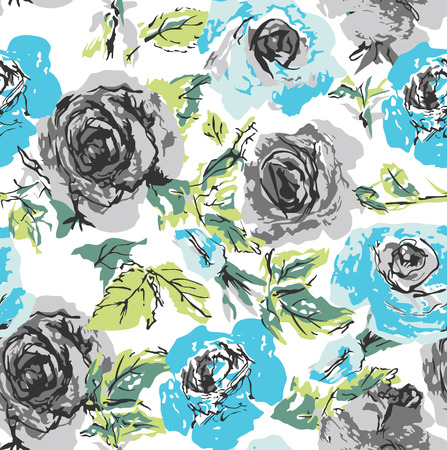botany woman: seamless flower rose pattern