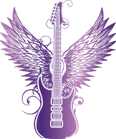 Guitar vleugel tribal Vector Illustratie
