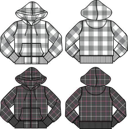 boy and girl fashion hoodies Vector